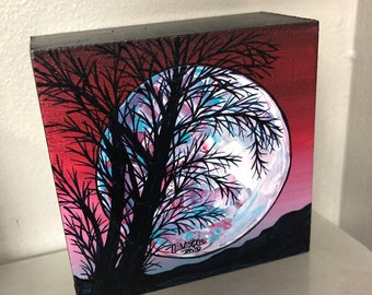 "Super Moon 4x4"" original acrylic painting by Tracy Levesque"