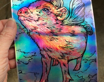 "5x7"" Flying Pig Holographic Sticker by Tracy Levesque"
