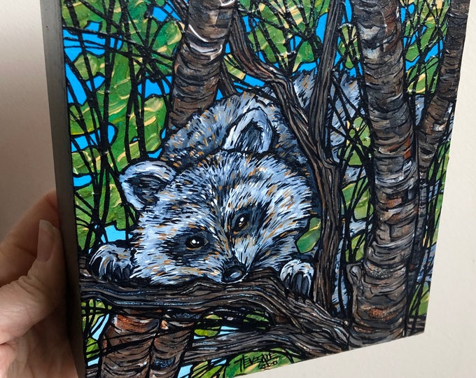 "Mischievous Raccoon, 6x6"" original acrylic painting by Tracy Levesque"