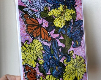 "5x7"" Butterflies and Flowers greeting card featuring artwork by Tracy Levesque"