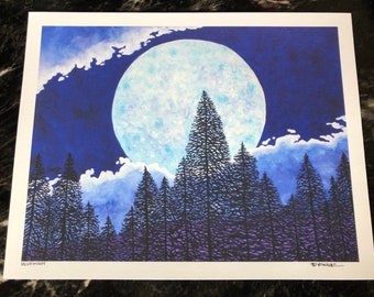 """Blue moon - super moon 11x14"""" fine art giclee print by Tracy Levesque"""