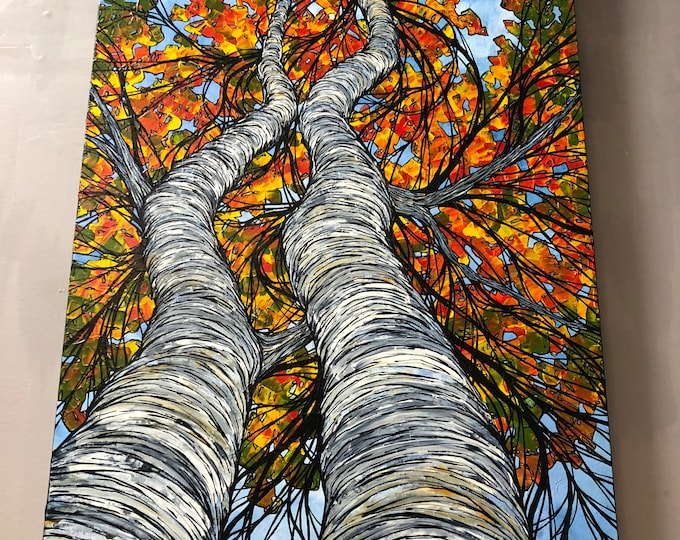 "Featured listing image: 36x24"" Massachusetts Birch Pair Looking Up Into the Trees original acrylic painting by Tracy Levesque"