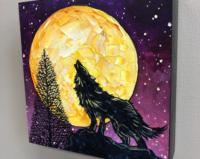 Gold Wolf Moon, original acrylic painting by Tracy Levesque