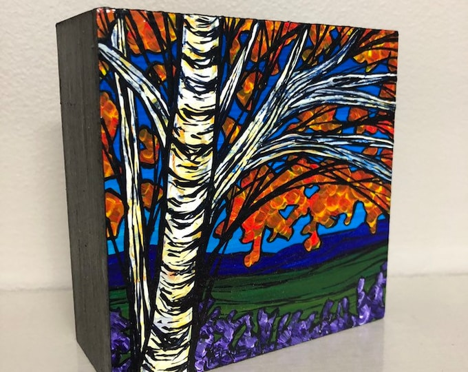 """4x4"""" Original acrylic painting Fall Birch by Tracy Levesque"""