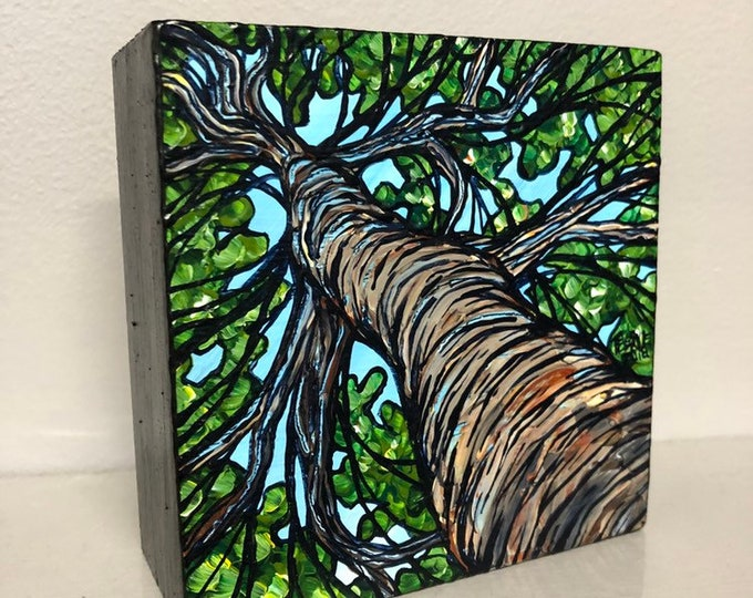 "4x4"" Original acrylic painting Summer Tree by Tracy Levesque"