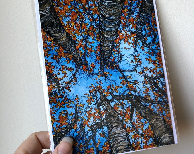 """5x7"""" Looking Up Into the Autumn Trees greeting card featuring artwork by Tracy Levesque"""