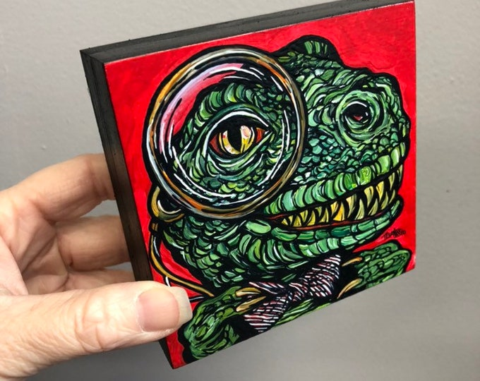 "4x4"" One of a kind painting Dapper Dino by Tracy Levesque"