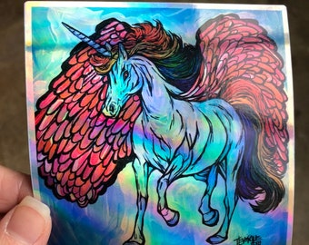 "4x4"" Rainbow Unicorn Pegasus Holographic Sticker by Tracy Levesque"