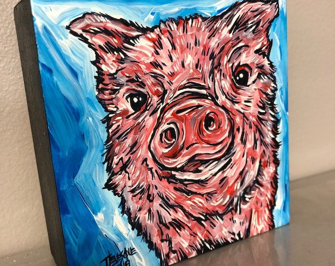 "4x4"" Piggy Face original acrylic painting by Tracy Levesque"