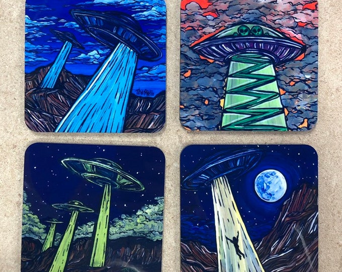 Set of 4 Fantasy Sci-Fi Coasters by Tracy Levesque