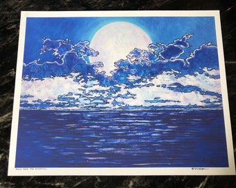 "Moon Over the Atlantic 11x14"" fine art giclee print by Tracy Levesque"