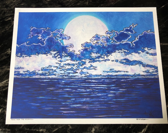 """Moon Over the Atlantic 11x14"""" fine art giclee print by Tracy Levesque"""