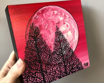 "6x6"" Pink Full Moon Original Acrylic Painting by Tracy Levesque"