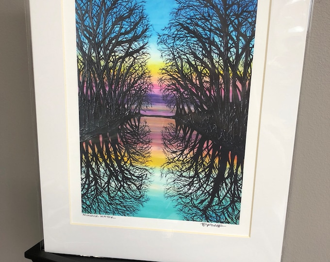 11x14 Matted giclee print of Mirror Water by Tracy Levesque
