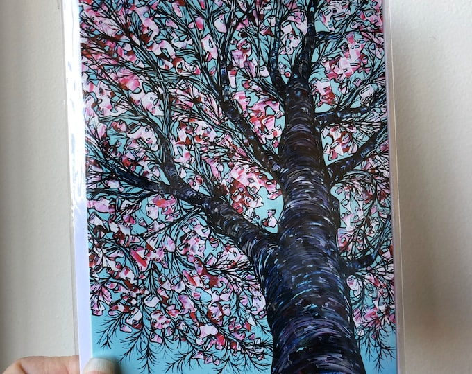 """5x7"""" Springtime Blossom Tree greeting card featuring artwork by Tracy Levesque"""