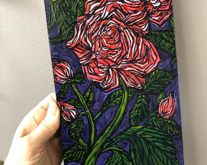 "6x12"" Three Red Roses original acrylic painting by Tracy Levesque"