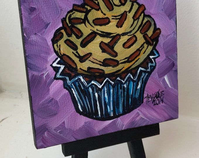 "Chocolate sprinkles cupcake 4x4""mini acrylic painting on easel by Tracy Levesque"