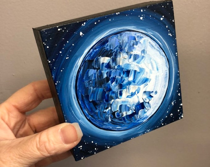 "4x4"" one of a kind painting Full Blue Moon by Tracy Levesque"