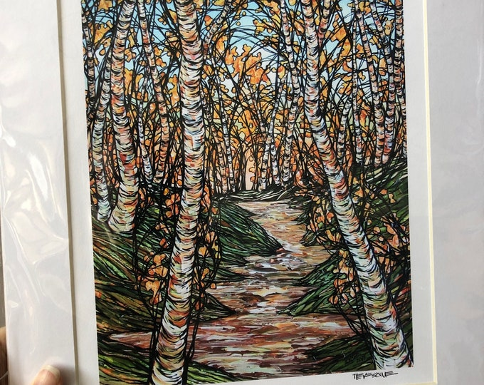 """11x14"""" Matted Print of A Stroll through the Birches by Tracy Levesque (print size is approximately 8x10"""" inside 11x14"""" mat)"""