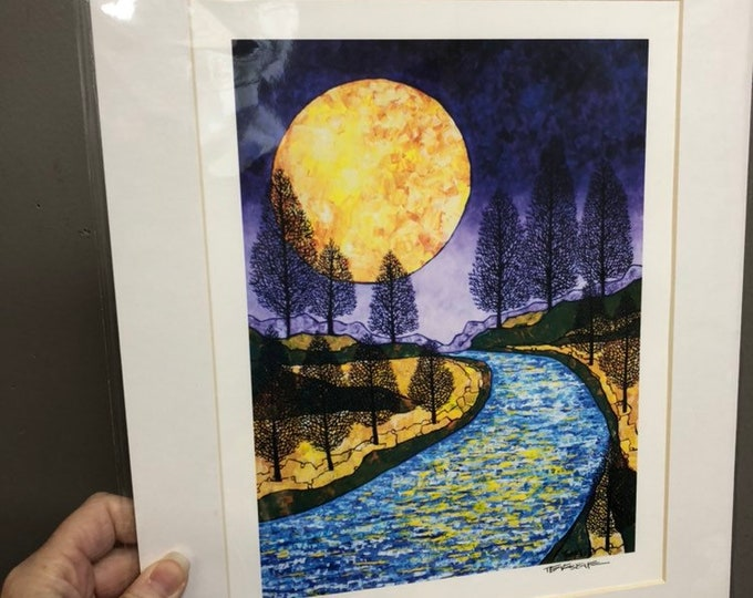 "11x14"" Matted giclee print of Moon River by Tracy Levesque"