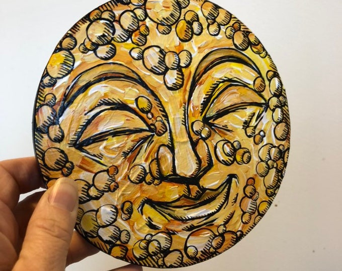 "Smiling Golden Buddha Moon by Tracy Levesque one-of-kind 6"" Round Acrylic Painting"