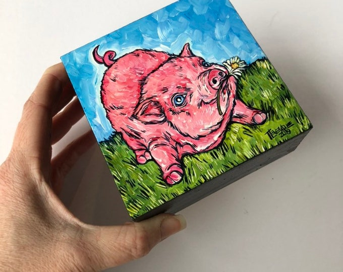 "Daisy Pig 4x4"" Original Acrylic Painting by Tracy Levesque"