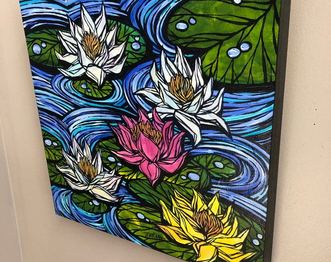 "Pastel Lotus Flowers, 14x14"" Original Acrylic Painting by Tracy Levesque"