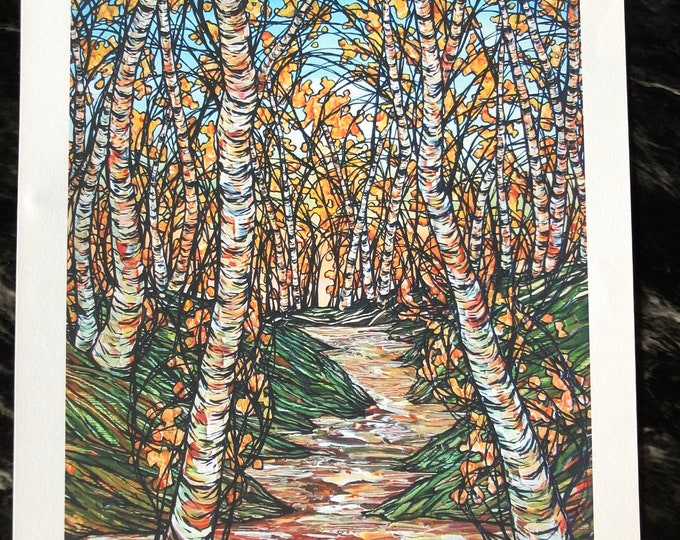 """A Stroll through the Birches 11x14"""" unmatted Fine Art giclee print by Tracy Levesque"""