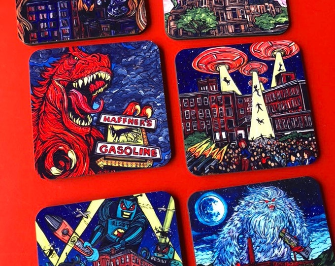 Sold seperately Mill City Monsters Coasters by Tracy Levesque Monsters Invade Lowell MA