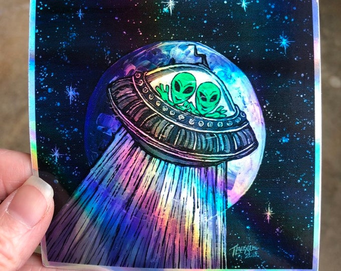 "4x4"" Alien Little Green Men in UFO Sticker by Tracy Levesque"