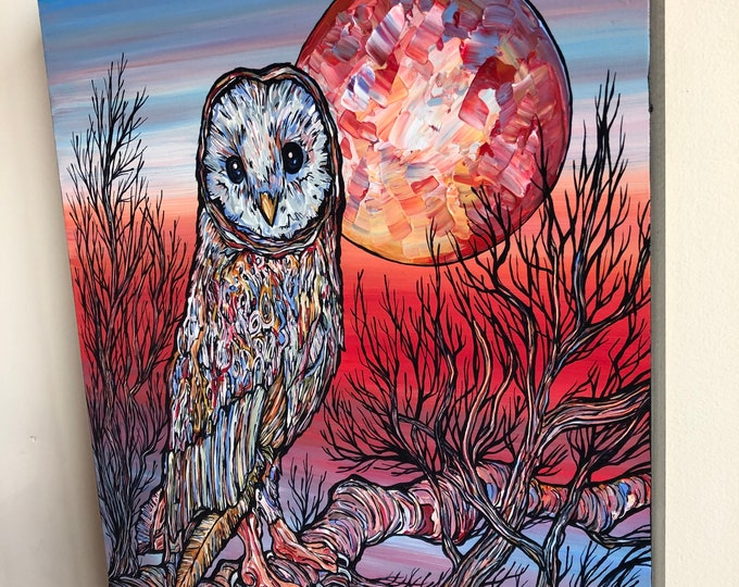 "Keeper of the Dawn, beautiful 11x14"" original acrylic painting of an owl by Tracy Levesque"