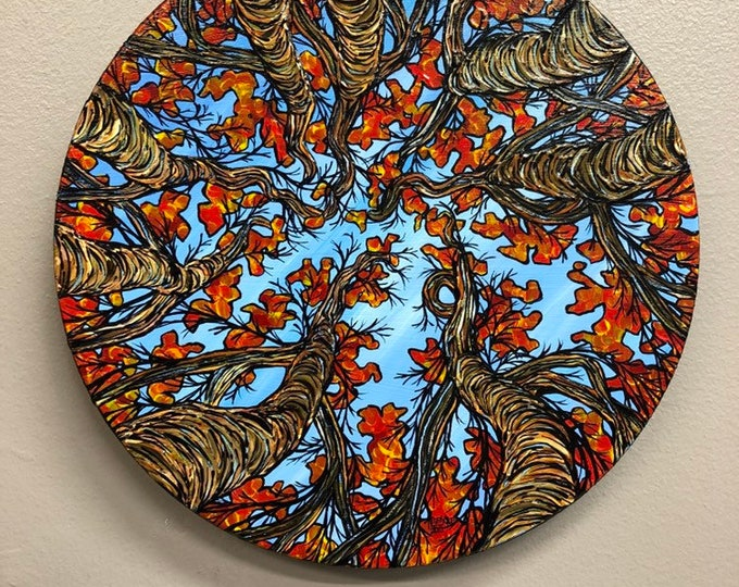 "Circle if Life 8"" Round Original Acrylic Painting by Tracy Levesque"