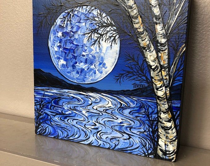 """6x6"""" Blue Night Moon original acrylic painting by Tracy Levesque"""