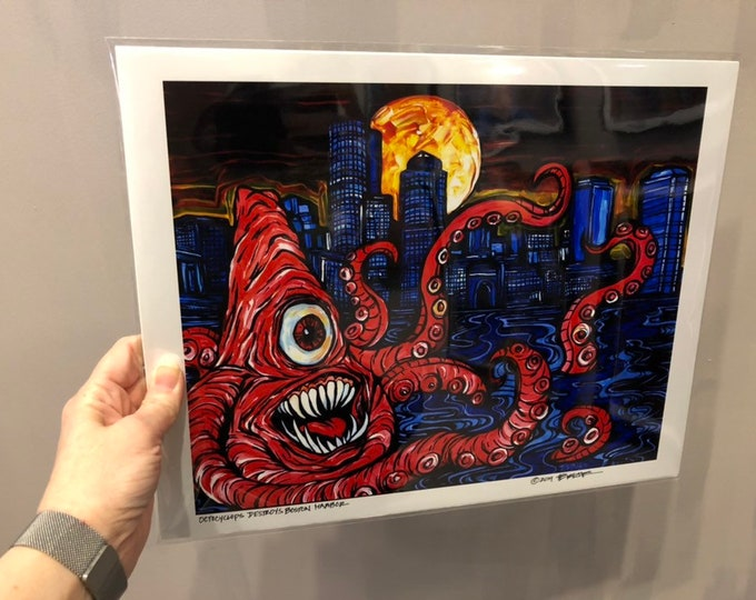 "Octocyclops Destroys Boston Harbor! Limited edition metallic photographic print 11x14"" by Tracy Levesque"