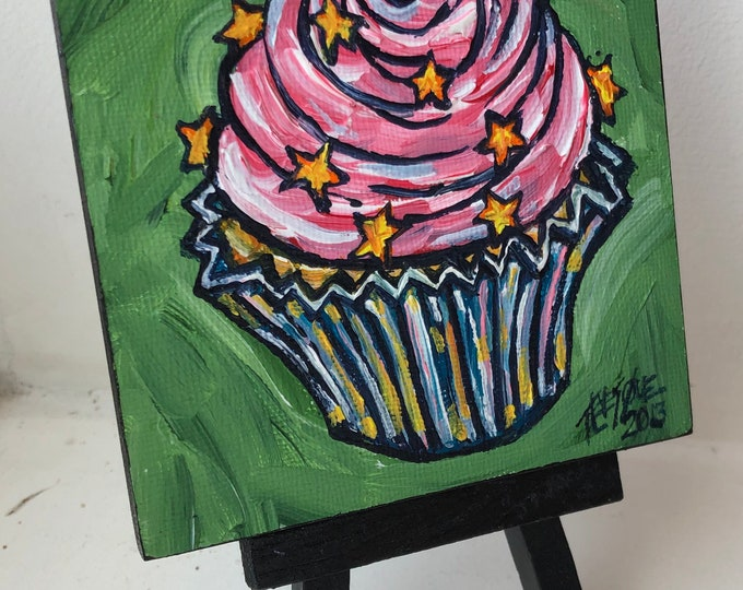 "Pink Cupcake with Star Sprinkles 4x4"" mini acrylic painting on easel by Tracy Levesque"