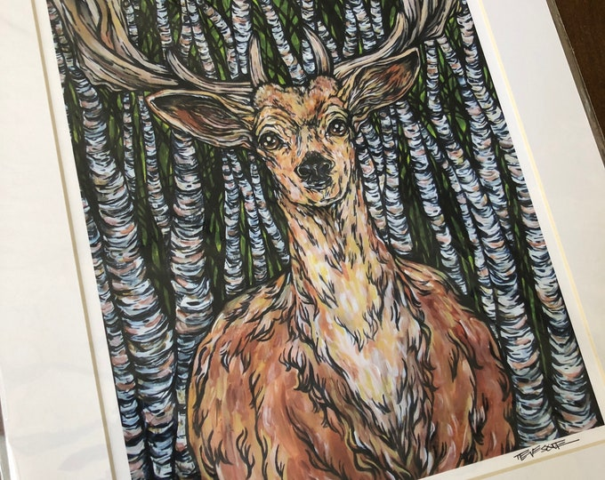 """11x14"""" Matted giclee prints of Guardian of the Birches by Tracy Levesque (print size is approximately 8x10"""" inside 11x14"""" mat)"""