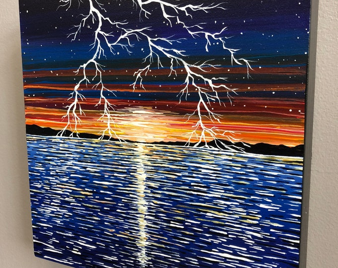 Lightning on the Horizon, original acrylic painting by Tracy Levesque