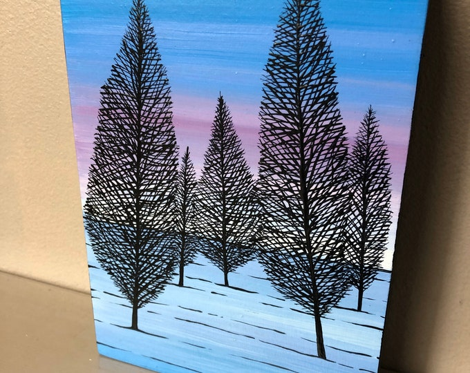 "5x7"" Peaceful Trees original acrylic painting by Tracy Levesque"