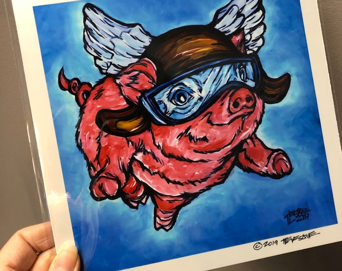 "8x8"" Print of Flying Aviator Pig by Tracy Levesque Metallic Photographic Print of Artwork"