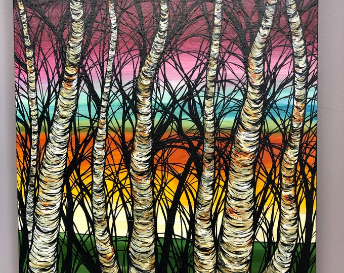 "Chakra Birches 20x24"" original acrylic painting on canvas by Tracy Levesque"