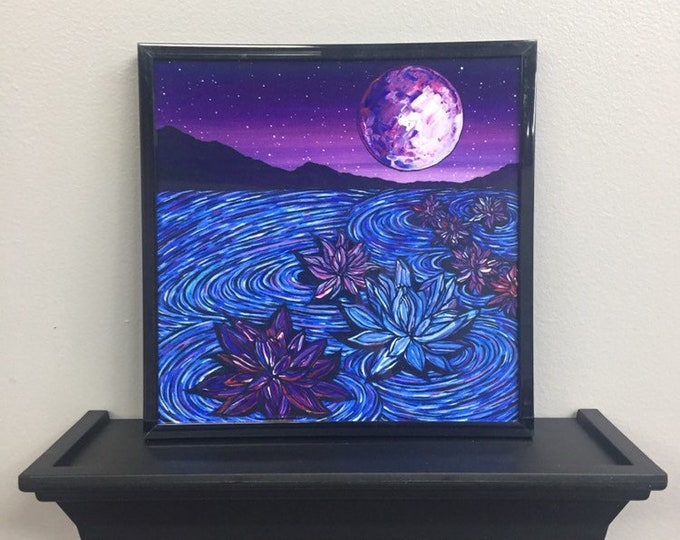 "Purple Lotus framed 8x8"" framed print on aluminum by Tracy Levesque"