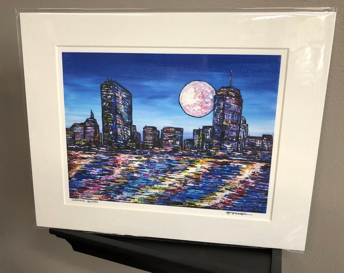 "11x14"" Matted giclee print of Boston, MA by Tracy Levesque"