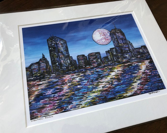 """11x14"""" Matted giclee print of Boston, MA by Tracy Levesque (print size is approximately 8x10"""" inside 11x14"""" mat)"""