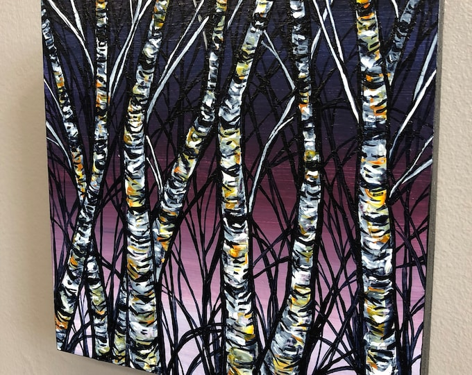 Purple Birch Trees, original acrylic painting by Tracy Levesque
