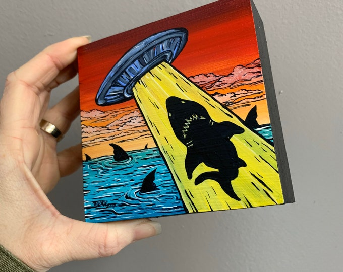 "4x4"" Shark UFO Abduction original acrylic painting by Tracy Levesque"