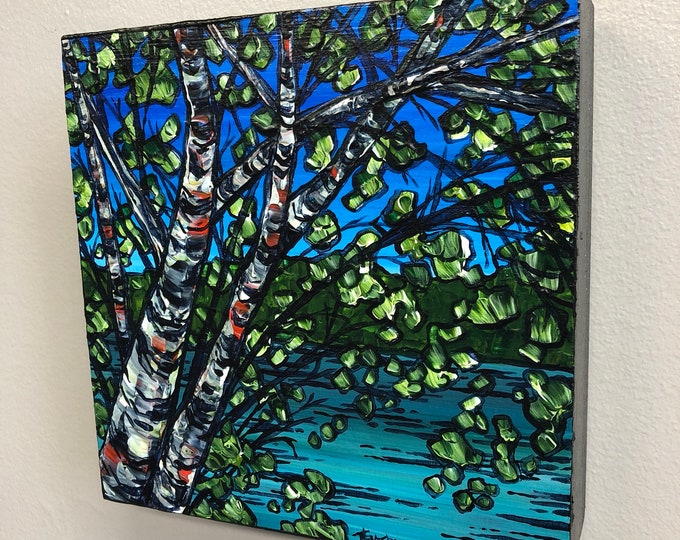 Birch Trees on the Water, original acrylic painting by Tracy Levesque