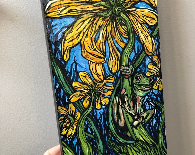 "6x12"" Daisy Frog Original Acrylic Painting by Tracy Levesque"