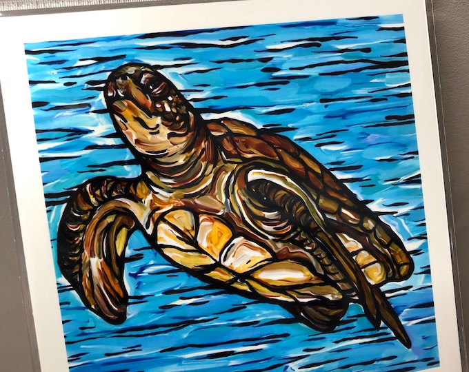 "8x8"" Sea Turtle metallic photographic print featuring artwork by Tracy Levesque"