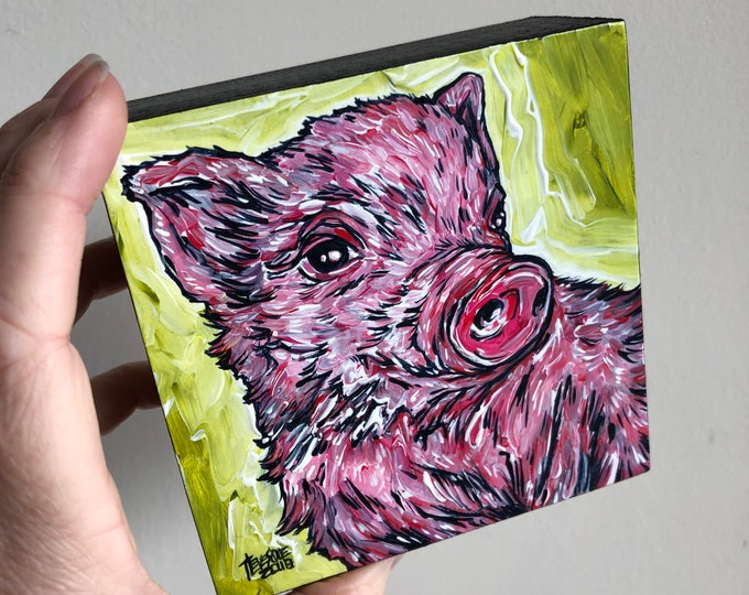 """4x4"""" Happy Piglet Adorable Pig painting by Tracy Levesque"""