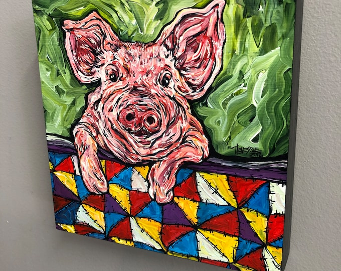 "8x8"" Pig in a Blanket original acrylic painting by Tracy Levesque"